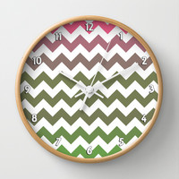 Pink Roses in Anzures 3 Chevron 2 Wall Clock by Christopher Johnson
