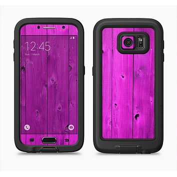 The Purple Highlighted Wooden Planks Full Body Samsung Galaxy S6 LifeProof Fre Case Skin Kit