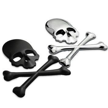 3D Skull Metal Skeleton Crossbones Car Sticker Label Skull Emblem Badge car styling stickers accessories = 1929691524