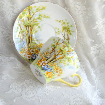 Vintage Shelley Teacup Saucer Tea-Cup Set Daffodil Time English Bone China