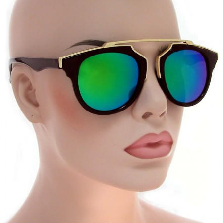 12212cdd1e Flat Top Clear Round Sunglasses Vintage Aviator Blue Mirrored Glasses -  Kendall
