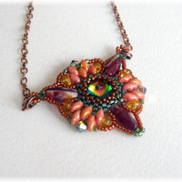 Beaded triangle pendant, beadwork OOAK necklace with Swarovski rivoli and SuperDuo