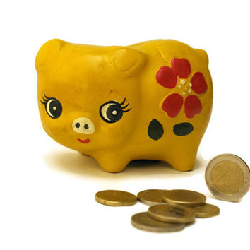 Piggy Bank. Yellow Pig Money Box. Childrens Money Safe.