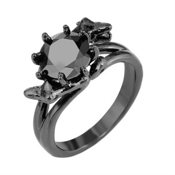 Snake Head Design Fashion WomenBlack Ring Black Gold Filled Jewelry Vintage Engagement Wedding Rings For Women RB0343 Alternative Measures
