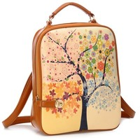 Women's Trees Stamp Windmill Printed School Tide Shoulder Bag Backpack