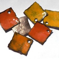 Navel Orange Glass Enameled Hammered Copper Squares Dangles | LBStudio - Handmade Supplies on ArtFire