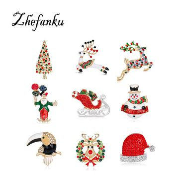 2017 Christmas Gifts New Fashion Christmas Accessories Brooch Flower Enamel Pin Brooch Bell Elk Crytal Festival Brooch Pins