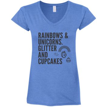 Rainbows & Unicorns, Glitters And Cupcakes Ladies' Fitted Softstyle V-Neck T-Shirt