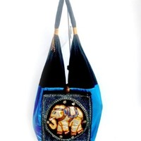 SmileThailand UNISEX BEAUTIFUL THAI SILK AND COTTON SHOULDER BAG WITH BIG ELEPHANT BY HANDMADE