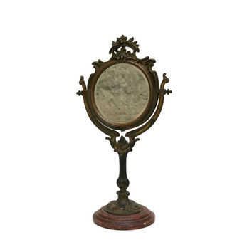 Art Nouveau Vanity Mirror. Antique French Looking Glass.