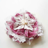 Pink Lace Flower Hair Accessories, Whimsical Pink and Off White Hair Clips with Pearls