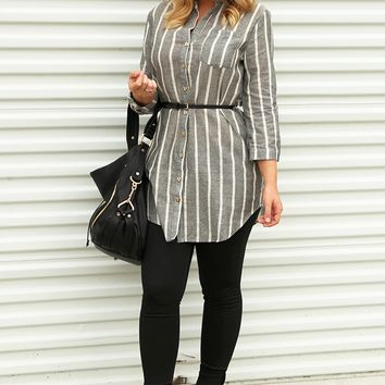 Simple Pleasures Tunic: Gray/White - Tops - Hope's Boutique