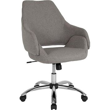 Madrid Home and Office Upholstered Mid-Back Chair in Light Gray Fabric [CH-177280-LGY-F-GG]