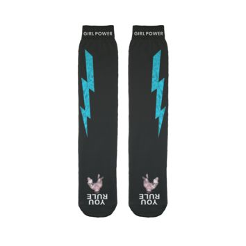 You Rule Girl Power Socks (BLACK) – Light Blue Lightning and a Flat Man Underfoot Sublimation Tube Sock