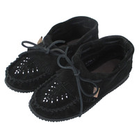 Women's Rubber Sole Black Suede Moccasins with Fringe