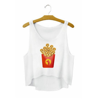 Women's Puppy French Fries Printed Cute Girl Sexy Cropped Sports Summer Harajuku Style Camisole Youth Tank Top Crop Top