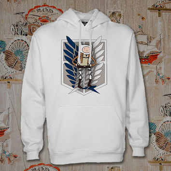 Adventure Time Attack on Titan Hoodie,Unisex Adults Size,Available Color White Black