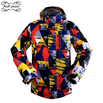Professional Ski Snowboard Jacket Snow Windproof Waterproof Warm Hiking Coat Breathable Skiing Hooded Graffiti Jacket Men M-3XL