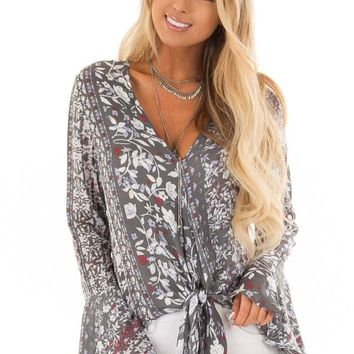 Dusty Olive Floral Print Bell Sleeve Top with Tie Detail