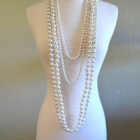 "Set of Three Vintage Faux Pearl Necklaces, Long 26"" and 34"" Lengths, Single Strand"