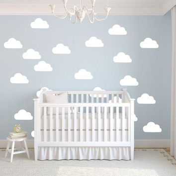 50Pcs/set  White Clouds Wall Stickers Removable DIY Vinyl Baby Wall Art Decal Mural For Kids Room Nursery Wallpaper D367