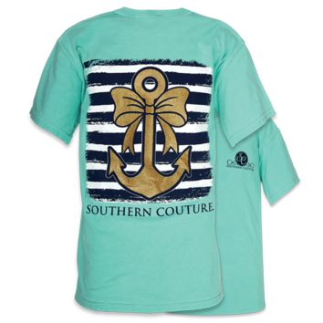 Southern Couture Gold Glitter Anchor Bow Comfort Colors Mint T-Shirt
