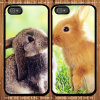 Cute Rabbit Kiss for couple case iphone 4/4s, iphone 5 and samsung Galaxy S3, samsung Galaxy S4