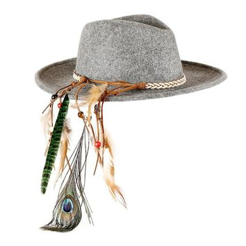 Kendra Indian Feather Fedora Hat
