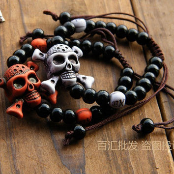 Bracelets and bracelet pirate skull beads bracelet for men and women lovers  Halloween gifts
