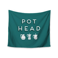 "Busy Bree ""Pot Head"" Teal Digital Wall Tapestry"