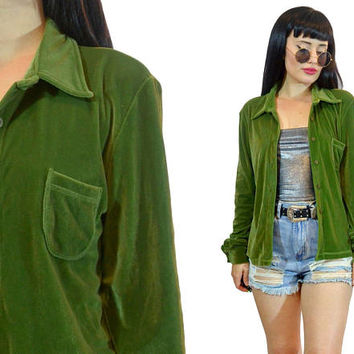 vintage 90s green velvet duster jacket oversized blouse minimalist shirt top soft grunge slouchy 1990s top basics small medium