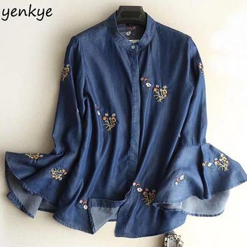 Spring 2018 Women Vintage Blue Tencel Denim Shirt Lady Flare Sleeve Floral Embroidery Summer Blouse  Casual Plus Size Tops