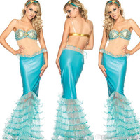2015 The New Role Play Sexy Lingerie Bra Mermaid Skirt Suit Uniforms Temptation Mermaid Stage Clothes Halloween Costume Cosplay Dress A16