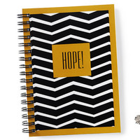 """Black and white notebook with """"HOPE!"""" quotation and gold frame / journal, sketchbook, skandinavian, hope, quote, stripes, stripeas, spiral"""