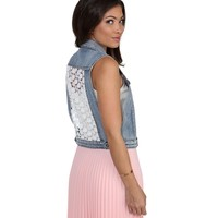 Denim Flower Power Vest
