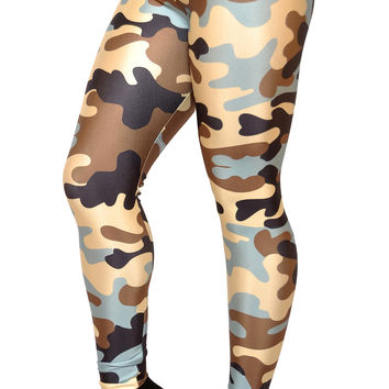 BadAssLeggings Women's Military Camo Leggings Medium Blue Brown