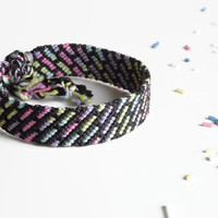 """unisex friendship bracelet from statistically colored threads, macrame cuff wristlet, colorful string bracelet, """"stripes"""" 15cm (5,9 inch)"""