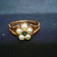 Antique Ring 9k Rose Gold Seed Pearls Emerald Color Stone Made in England Victorian Style