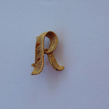 Vintage Gold Tone Letter R Brooch Pin Lapel