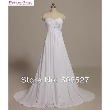 Vestido De Noiva Princesa Custom Made Robe De Mariee Sweetheart Chiffon Appliques Lace Wedding Dresses Beading Pleat Bridal Gown