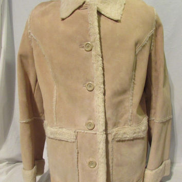 Suede Winter Coat Shearling Coat Women's Large Tan Leather Western Style NWT