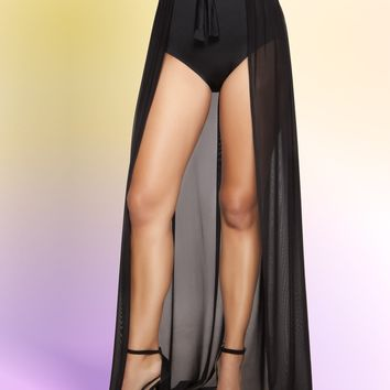Roma 3398 Open Front Sheer Tie Wrap Skirt