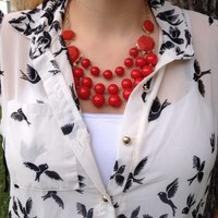 Triple Strand Red Statement Necklace