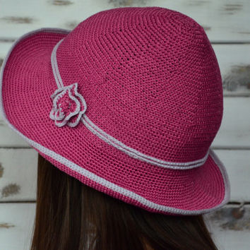 Crochet sun hat, fucshia bucket hat, crochet flower hat, medium brim sun hat, pink lavender hat women, Floppy beach hat, cloche sun hat