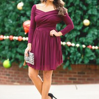 Main Attraction Dress in Burgundy | Monday Dress Boutique