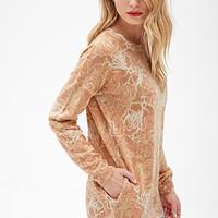 LOVE 21 Oversized Rose Print Sweater Blush/Cream