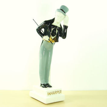 1969 I. W. Harper Decanter - The Bowing Gentleman Ceramic Liquor Bottle - Mid Century Contemporary Sculpture - Large