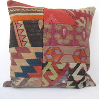 Handwoven LARGE PATCHWORK Multicolor Turkish Kilim Pillow Cover, Decorative Kilim Pillow, Vintage Pillow Throw 20 x 20