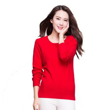 2016 New Fashion Mink Cashmere Sweater Women Sweaters and Pullovers Women O Neck Solid Color Long sleeve XXL Knitted Sweater