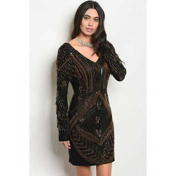Sun Kissed Bronze Sequin And Beaded Bodycon Dress
